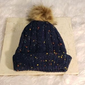 Knitted Cable Hat With Sherpa & Pom Pom